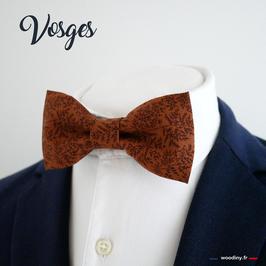 """Noeud papillon marron motif feuillage """"Vosges"""""""