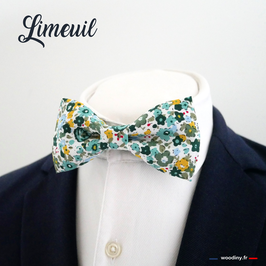 "Noeud papillon fleuri jaune et vert ""Limeuil"""