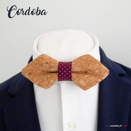 """Noeud papillon liège """"Cordoba"""" - forme en pointe"""