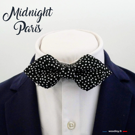"Noeud papillon noir à pois ""Midnight Paris"""