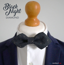 "Noeud papillon noir ""Black Night"" - forme diamond"