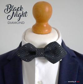"Noeud papillon noir ""Black Night"" - forme diamond"