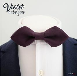 """Noeud papillon """"Violet aubergine"""" - forme en pointe"""