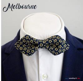 """Noeud papillon bleu à fleur doré """"Melbourne"""" - forme en pointe"""