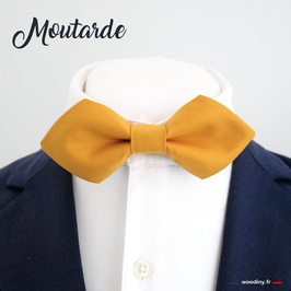 """Noeud papillon jaune """"Moutarde"""" - forme en pointe"""