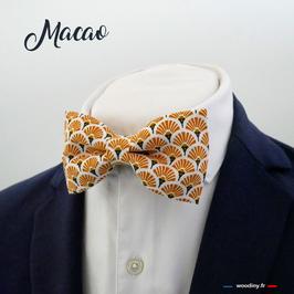 "Noeud papillon motif éventail orangé ""Macao"""