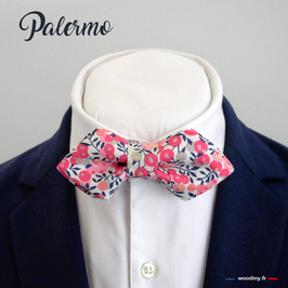 "Noeud papillon rose ""Palermo"" - forme en pointe"