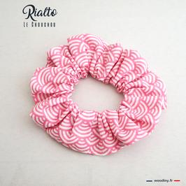 "Chouchou rose motif vagues ""Rialto"""