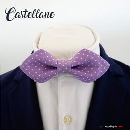 """Noeud papillon violet à pois blanc """"Castellane"""" - forme en pointe"""
