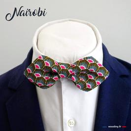 "Noeud papillon rose ""Nairobi"" - forme en pointe"