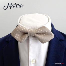 """Noeud papillon beige """"Matera"""" - forme en pointe"""
