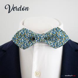 "Noeud papillon bleu vert ""Verdon"" - forme en pointe"