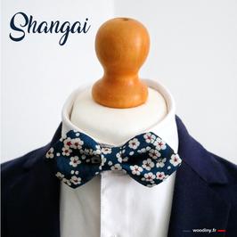 """Nœud papillon bleu """"Shangai"""""""
