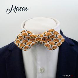 """Noeud papillon éventail orangé """"Macao"""" - forme en pointe"""