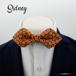 "Noeud papillon moutarde fleuri ""Sidney"" - forme pointue"