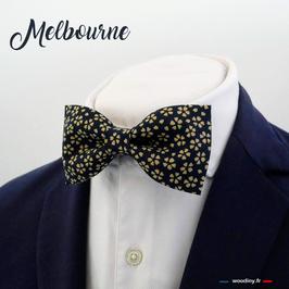 """Noeud papillon bleu à fleur doré """"Melbourne"""""""