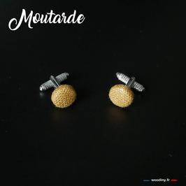 """Boutons de manchette """"Moutarde"""""""