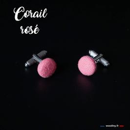 """Boutons de manchette """"Corail rosé"""""""
