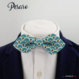 "Noeud papillon turquoise ""Pesaro"" - forme en pointe"