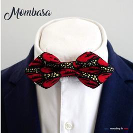"Noeud papillon rouge ""Mombasa"" - forme en pointe"