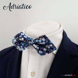 "Noeud papillon bleu liberty ""Adriatico"" - forme en pointe"