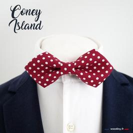 """Noeud papillon rouge à pois blanc """"Coney Island"""" - forme en pointe"""