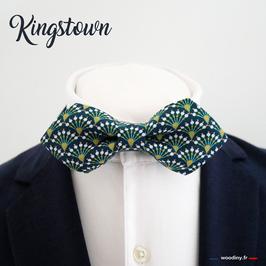 """Noeud papillon motif éventails """"Kingstown"""" - forme en pointe"""