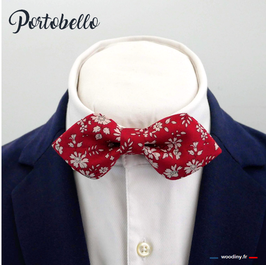 "Noeud papillon rouge grenat ""Portobello"" - forme en pointe"