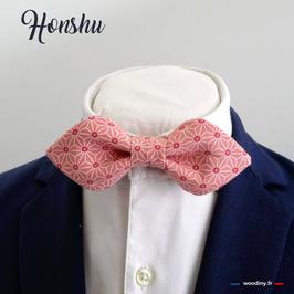 "Noeud papillon rose ""Honshu"" - forme en pointe"