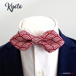 "Noeud papillon rouge ""Kyoto"" - forme en pointe"