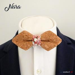 """Noeud papillon en liège """"Nara"""" - forme en pointe"""