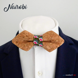 "Noeud papillon en liège ""Nairobi"" - forme en pointe"