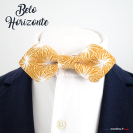"Noeud papillon jaune safran ""Belo Horizonte"" - forme en pointe"