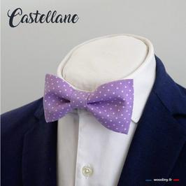 """Noeud papillon violet à pois blanc """"Castellane"""""""