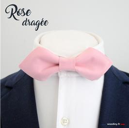 """Noeud papillon """"Rose dragée"""" - forme en pointe"""