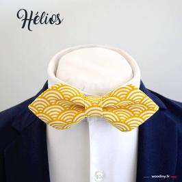 """Noeud papillon jaune à vagues """"Hélios"""" - forme en pointe"""