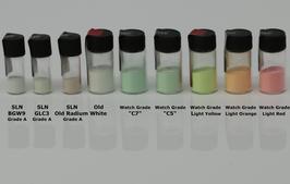 Leuchtpulver KIT: Swiss SuperLuminova + Klarlack A60 + Verdünner A61 je 1g, C1, C3, BGW9, Old Radium