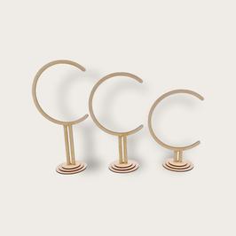 3 Ständer aus Holz, ca. 19, 23 u. 27 cm hoch ideal passend für Acrylglaskugeln mit 10 cm Durchmesser lasergeschnitten, mit Haken