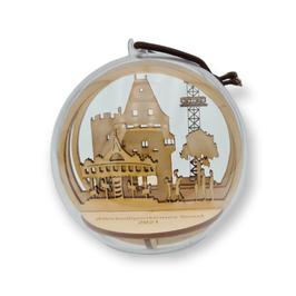 Soester  Allerheiligenkirmes-Kugel - Motiv Osthofentor -  10cm Durchmesser - Birkenholz mit Acrylglaskugel