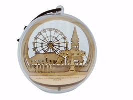 Soester Allerheiligenkirmes-Kugel - Motiv Rathaus/Dom-  10cm Durchmesser - Birkenholz mit Acrylglaskugel