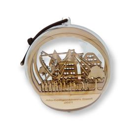 Soester Allerheiligenkirmes-Kugel - Motiv Markt -  10cm Durchmesser - Birkenholz mit Acrylglaskugel
