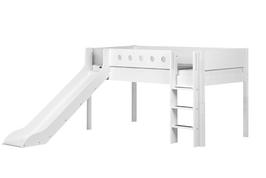 FLEXA White halbhohes Bett mit Rutsche, weiß/weiß