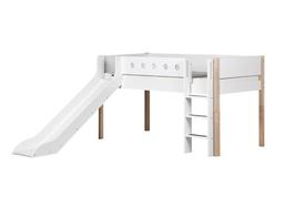 FLEXA White halbhohes Bett mit Rutsche, weiß/natur
