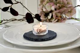 Teelicht NAME / Kerzenhalter Glas personalisiert / Gastgeschenk
