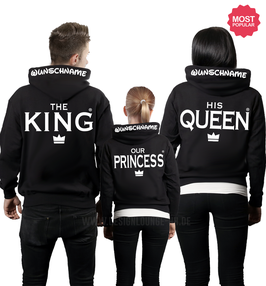 "3ER HOODIE SET ""THE KING-HIS QUEEN-OUR PRINCE""+ KAPUZENDRUCK"