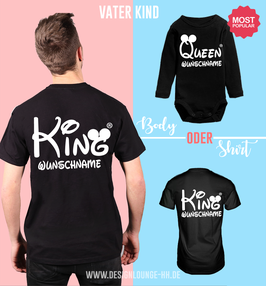 "2ER T-SHIRT SET ""KING & KING/QUEEN"" oo + WUNSCHNAMEN"