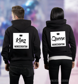 "2 x HOODIES ""KING & QUEEN"" QUADER + WUNSCHDATUM"
