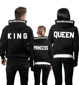 "3ER HOODIE SET ""KING-QUEEN-JR"" SZ. + KAPUZENDRUCK"