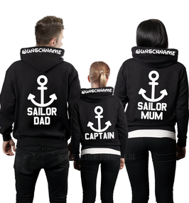 "3ER HOODIE SET ""SAILOR MUM - DAD - CAPTAIN+ KAPUZENDRUCK"