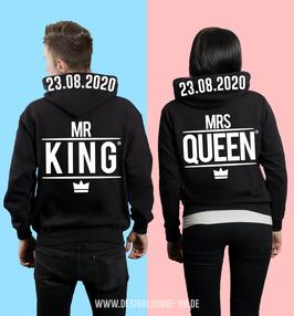 """2 x HOODIES """"MR.KING & MRS.QUEEN"""" + WUNSCHTEXT"""